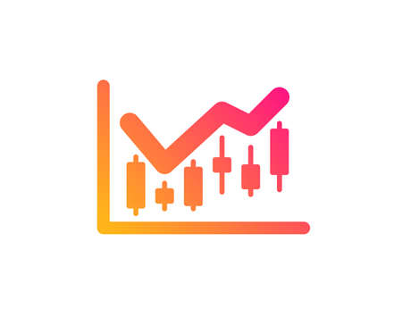 Candlestick chart icon. Financial graph sign. Stock exchange symbol. Business investment. Classic flat style. Gradient financial diagram icon. Vector Zdjęcie Seryjne - 119597103