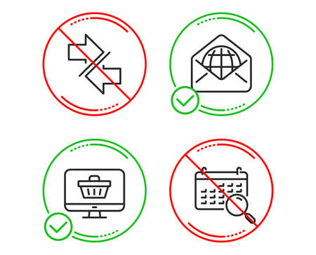 Do or Stop. Synchronize, Web shop and Web mail icons simple set. Search calendar sign. Communication arrows, Shopping cart, World communication. Find date. Technology set. Line synchronize do icon 일러스트