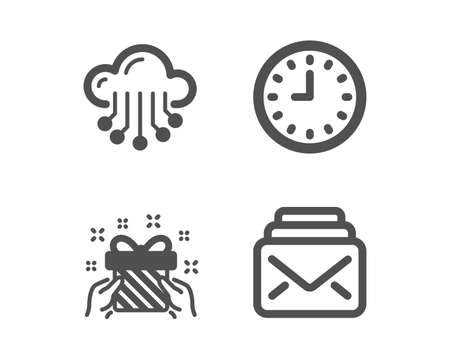 Set of Cloud storage, Gift and Clock icons. Mail sign. Data service, Present, Time or watch. New messages.  Classic design cloud storage icon. Flat design. Vector Illustration