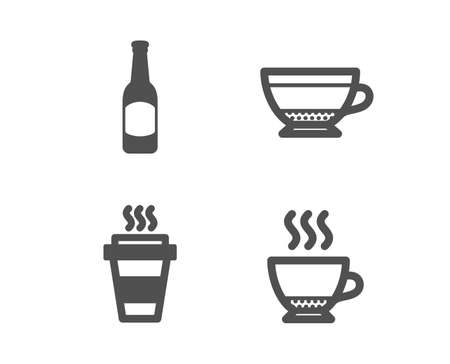 Set of Beer, Dry cappuccino and Takeaway icons. Espresso sign. Bar drink, Beverage mug, Takeout coffee. Hot drink.  Classic design beer icon. Flat design. Vector
