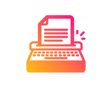 Typewriter icon. Copywriting sign. Writer machine symbol. Classic flat style. Gradient typewriter icon. Vector