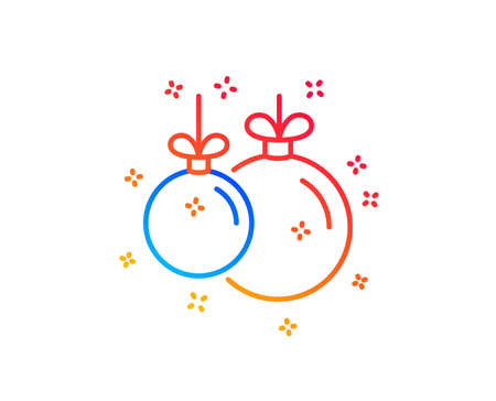 Christmas ball line icon. New year tree decoration sign. Gradient design elements. Linear christmas ball icon. Random shapes. Vector 스톡 콘텐츠 - 124229392