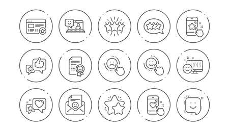 Feedback line icons. User Opinion, Customer service and Star Rating. Customer satisfaction linear icon set. Line buttons with icon. Editable stroke. Vector Illustration