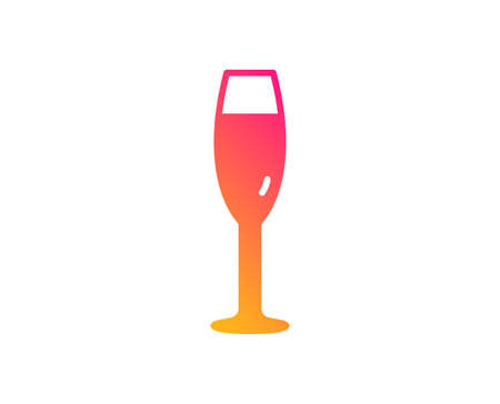 Champagne glass icon. Wine glass sign. Classic flat style. Gradient champagne glass icon. Vector Illustration