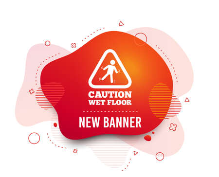Fluid badge. Caution wet floor sign icon. Human falling triangle symbol. Abstract shape. Gradient slippery icon. Flyer liquid banner. Vector Ilustração