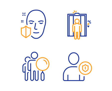 Search people, Elevator and Face protection icons simple set. Security sign. Find employee, Lift, Secure access. Person protection. People set. Linear search people icon. Colorful design set. Vector