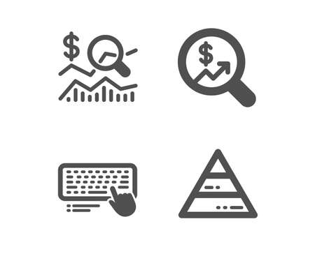 Set of Computer keyboard, Currency audit and Check investment icons. Pyramid chart sign. Pc device, Money chart, Business report. Report analysis.  Classic design computer keyboard icon. Flat design