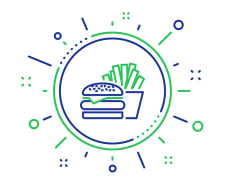 Burger with fries line icon. Fast food restaurant sign. Hamburger or cheeseburger symbol. Quality design elements. Technology burger button. Editable stroke. Vector