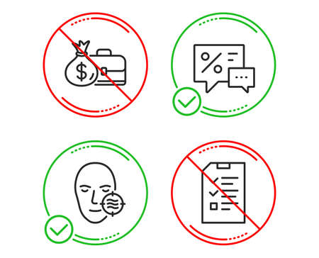 Do or Stop. Discounts, Problem skin and Salary icons simple set. Interview sign. Best offer, Facial care, Diplomat with money bag. Checklist file. Business set. Line discounts do icon. Vector