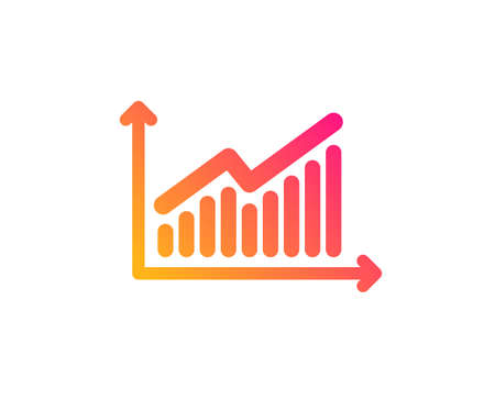 Chart icon. Report graph or Sales growth sign. Analysis and Statistics data symbol. Classic flat style. Gradient graph icon. Vector Çizim