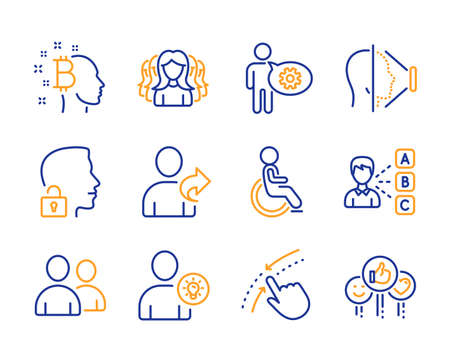 Disabled, Swipe up and Users icons simple set. Opinion, Bitcoin think and Refer friend signs. User idea, Unlock system and Cogwheel symbols. Women group, Face id and Like. Line disabled icon. Vector Иллюстрация