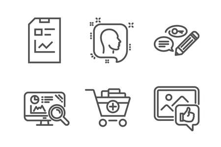 Head, Seo analytics and Add products icons simple set. Report document, Keywords and Like photo signs. Profile messages, Statistics. Business set. Line head icon. Editable stroke. Vector