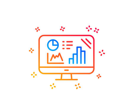 Analytics graph line icon. Column chart sign. Growth diagram symbol. Gradient design elements. Linear analytics graph icon. Random shapes. Vector Illustration