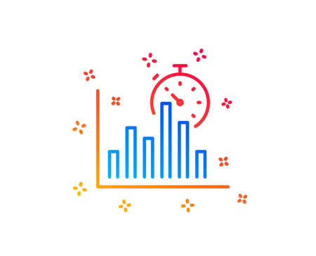 Report timer line icon. Column graph sign. Growth diagram chart symbol. Gradient design elements. Linear report timer icon. Random shapes. Vector