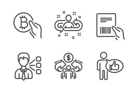 Third party, Recruitment and Sharing economy icons simple set. Bitcoin pay, Parcel invoice and Like signs. Team leader, Manager change. People set. Line third party icon. Editable stroke. Vector