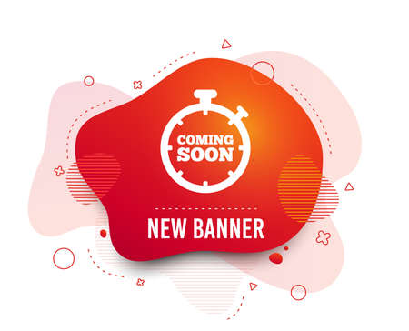Fluid badge. Coming soon sign icon. Promotion announcement symbol. Abstract shape. Gradient coming soon icon. Flyer liquid banner. Vector