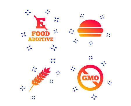 Food additive icon. Hamburger fast food sign. Gluten free and No GMO symbols. Without E acid stabilizers. Random dynamic shapes. Gradient burger icon. Vector