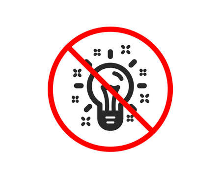No or Stop. Idea icon. Light bulb or Lamp sign. Creativity, Solution or Thinking symbol. Prohibited ban stop symbol. No idea icon. Vector Illustration