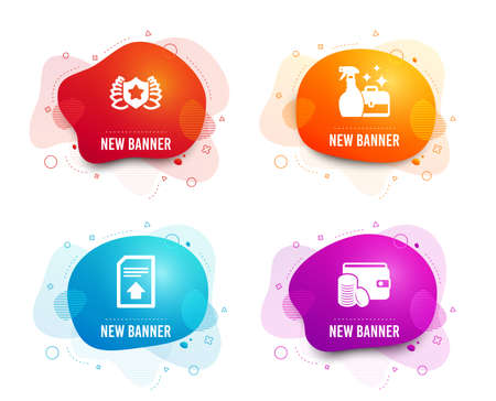 Liquid badges. Set of Upload file, Laureate and Cleanser spray icons. Payment method sign. Load document, Award shield, Washing liquid. Wallet with coins. Gradient upload file icon. Vector