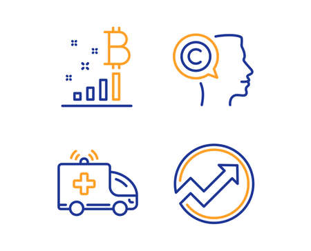 Writer, Bitcoin graph and Ambulance car icons simple set. Audit sign. Copyrighter, Cryptocurrency analytics, Emergency transport. Arrow graph. Science set. Linear writer icon. Colorful design set
