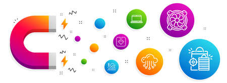 Magnet attracting. Cloud storage, Notebook and Computer fan icons simple set. Load document, Check investment and Seo shopping signs. Data service, Laptop computer. Technology set. Vector