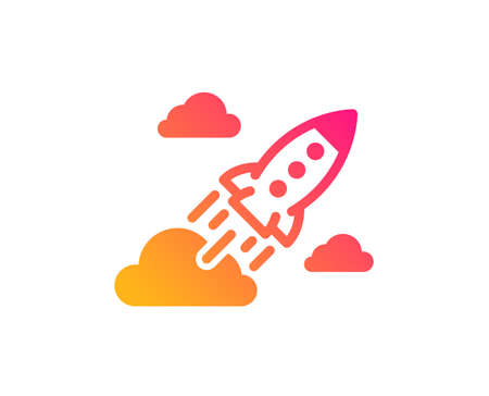 Startup rocket icon. Launch Project sign. Innovation symbol. Classic flat style. Gradient startup rocket icon. Vector