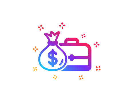 Business case icon. Portfolio and Salary symbol. Diplomat with Money bag sign. Dynamic shapes. Gradient design salary icon. Classic style. Vector