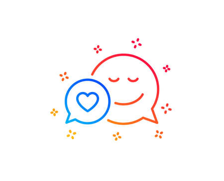 Comic speech bubble with Smile line icon. Chat emotion with heart sign. Gradient design elements. Linear dating icon. Random shapes. Vector