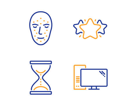 Face biometrics, Star and Time hourglass icons simple set. Computer sign. Facial recognition, Favorite, Sand watch. Pc component. Business set. Linear face biometrics icon. Colorful design set. Vector Ilustracja