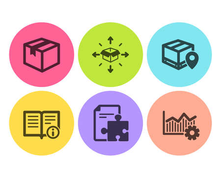 Parcel tracking, Technical info and Strategy icons simple set. Parcel, Operational excellence signs. Package location pin, Documentation. Industrial set. Flat parcel tracking icon. Circle button