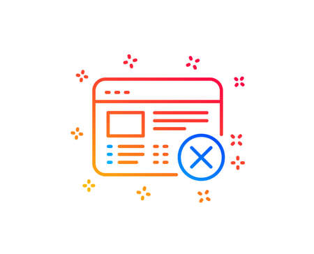 Reject web page line icon. No internet sign. Delete browser. Gradient design elements. Linear reject web icon. Random shapes. Vector Illustration
