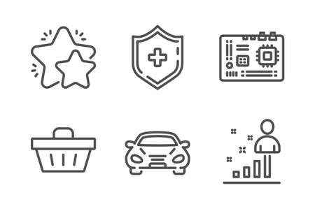 Car, Medical shield and Star icons simple set. Shopping basket, Motherboard and Stats signs. Transport, Medicine protection. Business set. Line car icon. Editable stroke. Vector