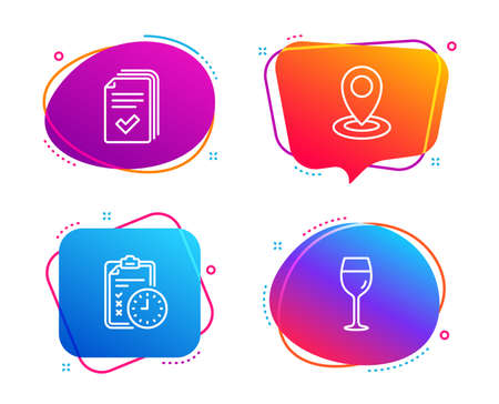 Exam time, Handout and Location icons simple set. Wine glass sign. Checklist, Documents example, Map pointer. Bordeaux glass. Business set. Speech bubble exam time icon. Colorful banners design set  イラスト・ベクター素材
