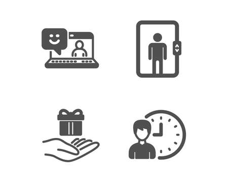 Set of Smile, Elevator and Loyalty program icons. Working hours sign. Laptop feedback, Office transportation, Gift. Project deadline.  Classic design smile icon. Flat design. Vector Illustration