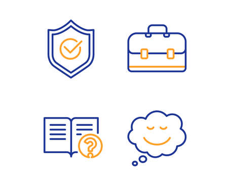 Approved shield, Portfolio and Help icons simple set. Speech bubble sign. Protection, Business case, Documentation. Comic chat. Business set. Linear approved shield icon. Colorful design set. Vector
