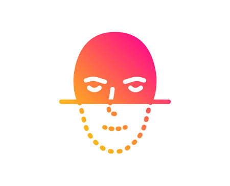 Face recognition icon. Faces biometrics sign. Head scanning symbol. Classic flat style. Gradient face recognition icon. Vector Ilustracja