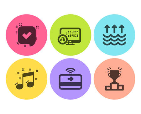 Confirmed, Evaporation and Contactless payment icons simple set. Report statistics, Musical note and Winner podium signs. Accepted message, Global warming. Education set. Flat confirmed icon. Vector