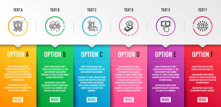 Music phone, Recruitment and Cashback icons simple set. Reward, Payment click and Artificial intelligence signs. Radio sound, Manager change. Education set. Infographic template. 6 steps timeline Illustration