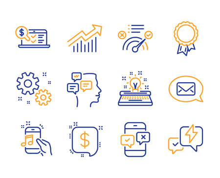 Typewriter, Work and Correct answer icons simple set. Payment message, Phone survey and Success signs. Online accounting, Music phone and Messenger symbols. Line typewriter icon. Colorful set. Vector