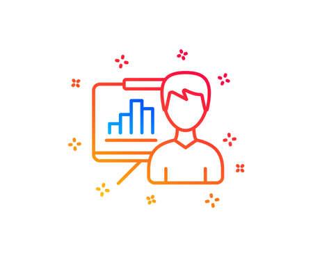 Presentation board line icon. Column graph sign. Growth diagram symbol. Gradient design elements. Linear presentation board icon. Random shapes. Vector