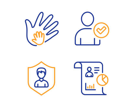 Identity confirmed, Security agency and Social responsibility icons simple set. Report sign. Person validated, People protection, Hand. Work statistics. People set. Linear identity confirmed icon Stock Vector - 120041471