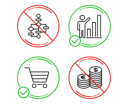 Do or Stop. Market sale, Graph chart and Block diagram icons simple set. Currency sign. Customer buying, Growth report, Algorithm path. Euro and usd. Finance set. Line market sale do icon. Vector Illustration