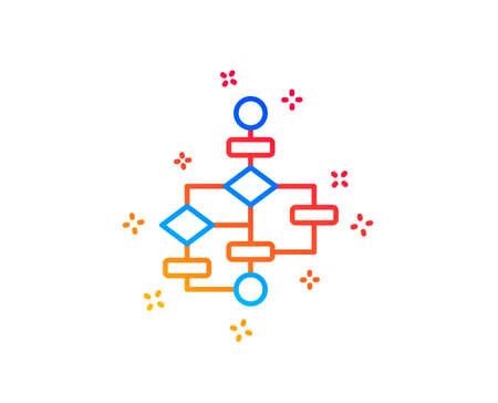 Block diagram line icon. Path scheme sign. Algorithm symbol. Gradient design elements. Linear block diagram icon. Random shapes. Vector