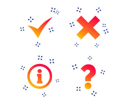 Information icons. Delete and question FAQ mark signs. Approved check mark symbol. Random dynamic shapes. Gradient information icon. Vector