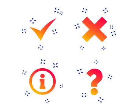 Informationssymbole. Löschen und hinterfragen Sie FAQ-Zeichen. Genehmigtes Häkchensymbol. Zufällige dynamische Formen. Symbol für Farbverlaufsinformationen. Vektor