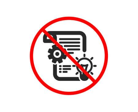 No or Stop. Cogwheel icon. Engineering tool sign. Idea bulb symbol. Prohibited ban stop symbol. No cogwheel icon. Vector