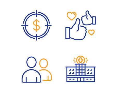 Dollar target, Like and Users icons simple set. Hospital building sign. Aim with usd, Thumbs up, Couple of people. Medical help. Business set. Linear dollar target icon. Colorful design set. Vector