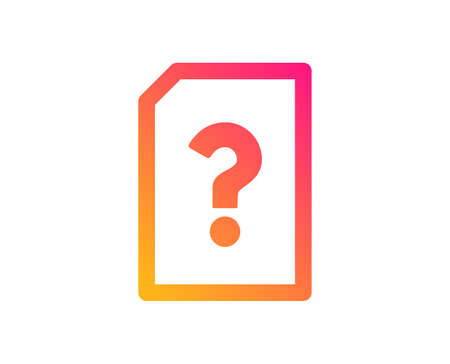 Unknown Document icon. File with Question mark sign. Untitled Paper page concept symbol. Classic flat style. Gradient unknown file icon. Vector
