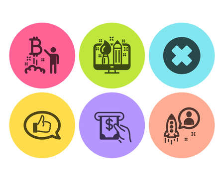 Close button, Bitcoin project and Creative design icons simple set. Feedback, Atm service and Startup signs. Delete or decline, Cryptocurrency startup. Technology set. Flat close button icon. Vector Ilustrace