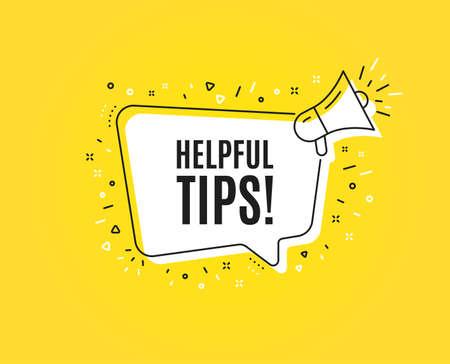 Symbol für hilfreiche Tipps. Megaphon-Banner. Bildung FAQ-Zeichen. Helfen Sie mit. Lautsprecher mit Sprechblase. Hilfreiche Tipps-Zeichen. Marketing- und Werbe-Tag. Vektor